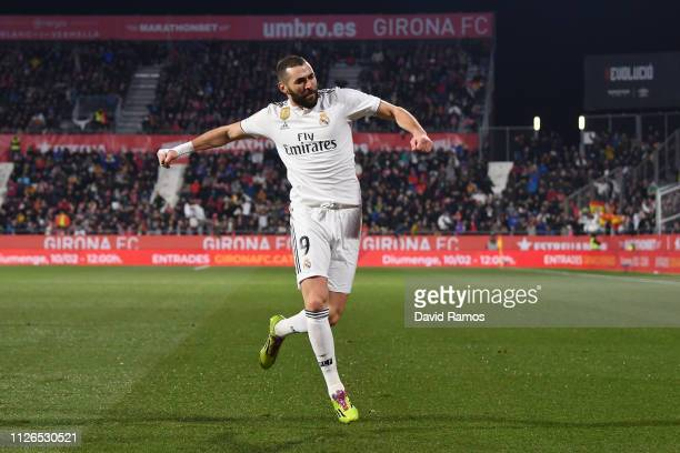 Karim Benzema of Real Madrid celebrates scoring to make it 10 during the Copa del Quarter Final match between Girona and Real Madrid at Montilivi...