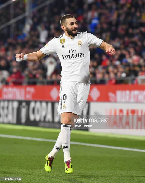 Karim Benzema of Real Madrid celebrates scoring to make it 20 during the Copa del Quarter Final match between Girona and Real Madrid at Montilivi...