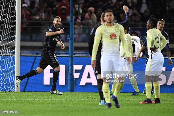 Karim Benzema of Real Madrid celebrates the first goal during the FIFA Club World Cup Semi Final between Club America and Real Madrid at...