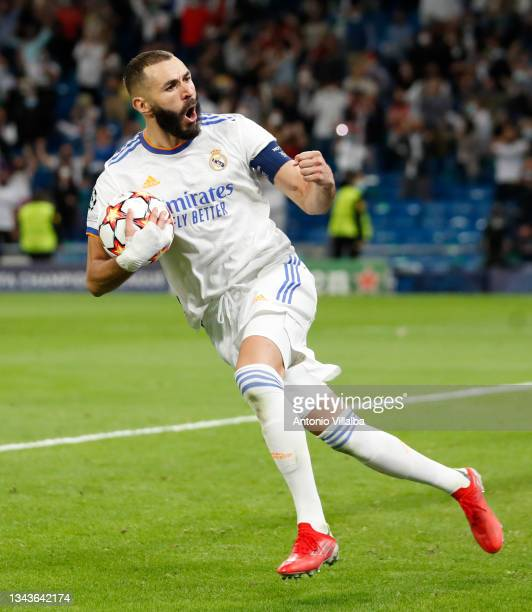 Karim Benzema of Real Madrid celebrating a goal during the UEFA Champions League group D match between Real Madrid and FC Sheriff at Estadio Santiago...