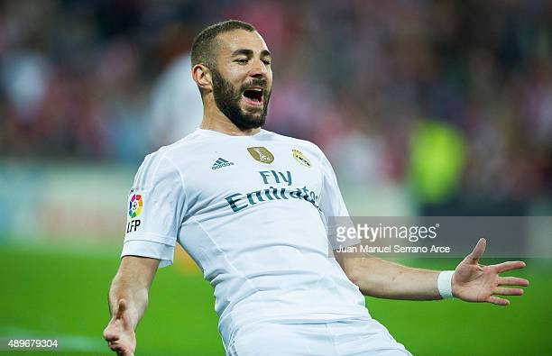 Karim Benzema of Real Madrid CF celebrates after scoring during the La Liga match between Athletic Club Bilbao and Real Madrid CF at San Mames...