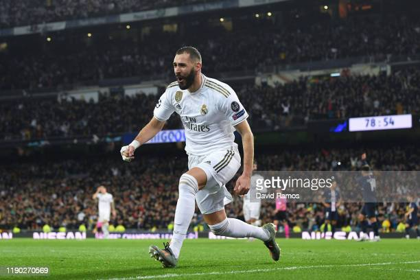 Karim Benzema of Real Madrid CF celebrates after scoring his team's second goal during the UEFA Champions League group A match between Real Madrid...