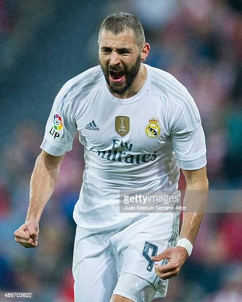 Karim Benzema of Real Madrid CF celebrates after scoring his team's second goal during the La Liga match between Athletic Club Bilbao and Real Madrid...