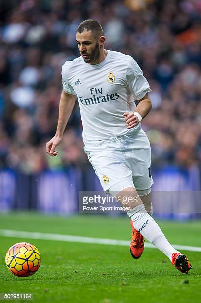 Karim Benzema of Real Madrid CF in action during the Real Madrid CF vs Real Sociedad as part of the Liga BBVA 20152016 at the Estadio Santiago...