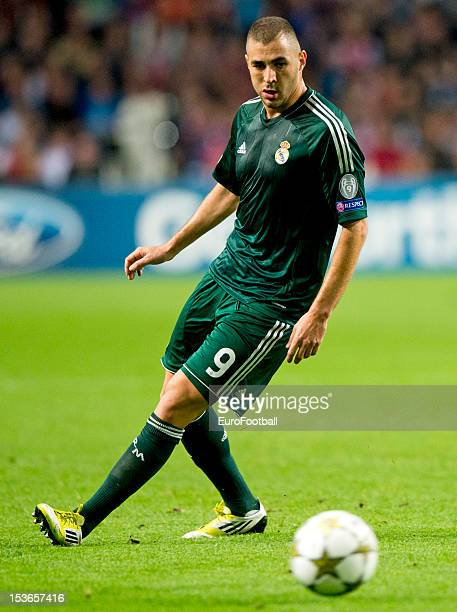 Karim Benzema of Real Madrid CF in action during the UEFA Champions League group stage match between AFC Ajax and Real Madrid CF at the Amsterdam...