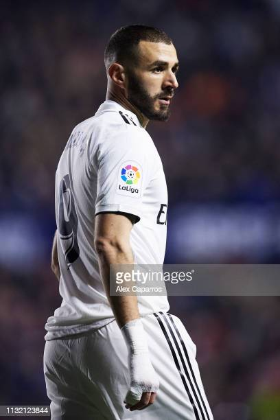 Karim Benzema of Real Madrid CF looks on during the La Liga match between Levante UD and Real Madrid CF at Ciutat de Valencia on February 24 2019 in...