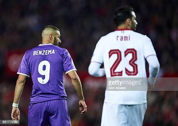 Karim Benzema of Real Madrid CF looks on during the La Liga match between Sevilla FC and Real Madrid CF at Estadio Ramon Sanchez Pizjuan on January...