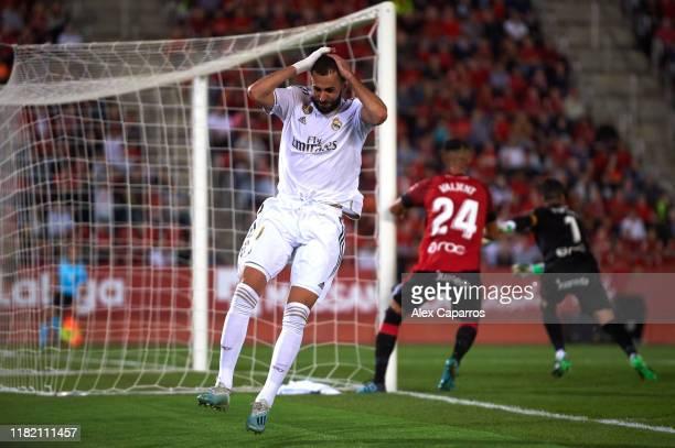 Karim Benzema of Real Madrid CF reacts during the La Liga match between RCD Mallorca and Real Madrid CF at Iberostar Estadi on October 19, 2019 in...