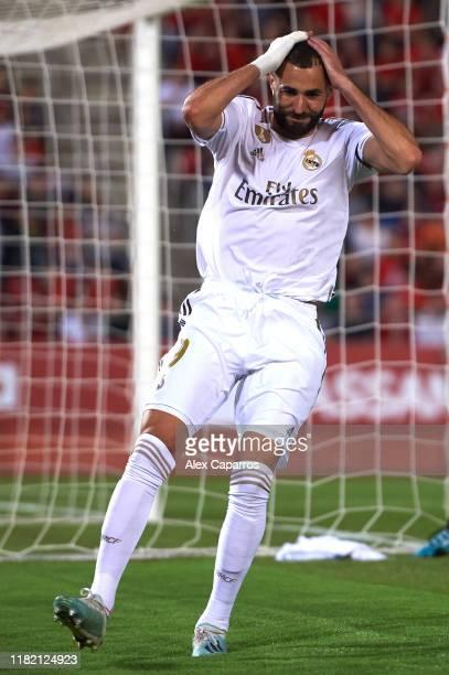 Karim Benzema of Real Madrid CF reacts during the La Liga match between RCD Mallorca and Real Madrid CF at Iberostar Estadi on October 19 2019 in...