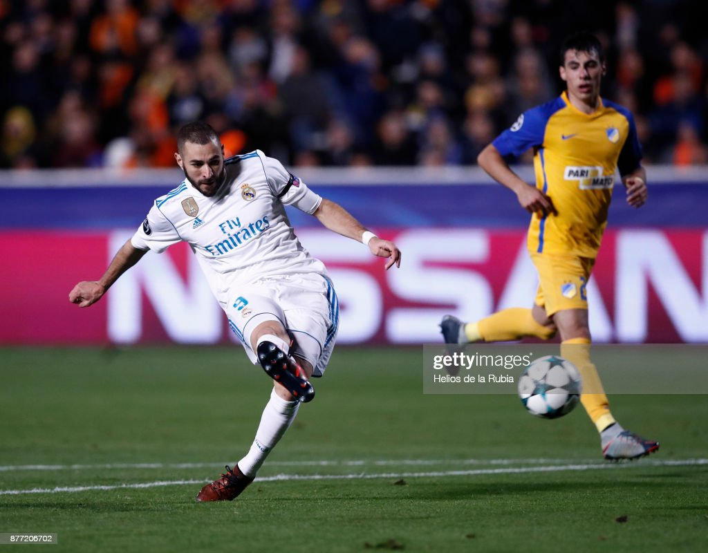 Karim Benzema of Real Madrid CF score the goal during the UEFA Champions League group H match between APOEL Nikosia and Real Madrid at GSP Stadium on November 21, 2017 in Nicosia, Cyprus.
