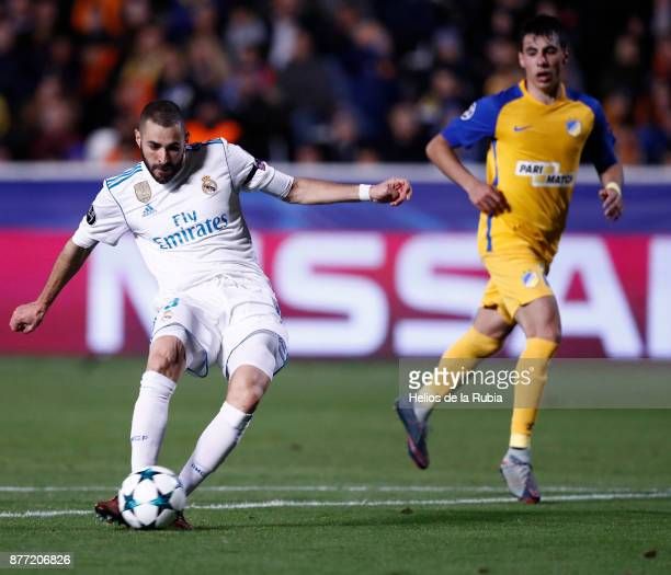 Karim Benzema of Real Madrid CF score the goal during the UEFA Champions League group H match between APOEL Nikosia and Real Madrid at GSP Stadium on...