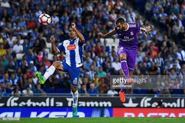 Karim Benzema of Real Madrid CF scores a disallowed goal during the La Liga match between RCD Espanyol and Real Madrid CF at the RCDE stadium on...