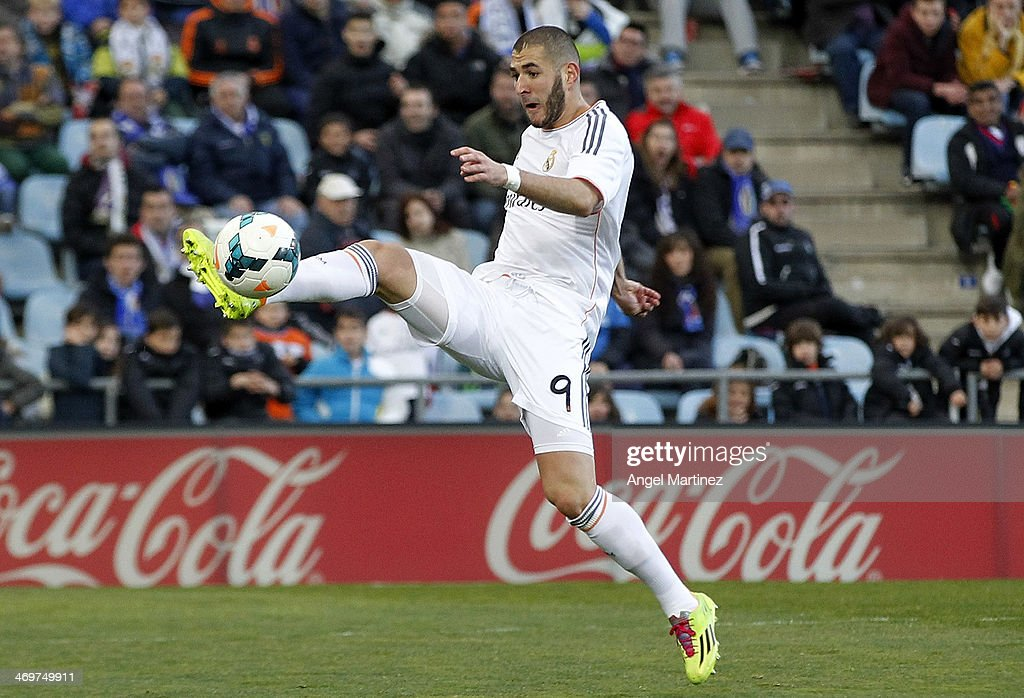Karim Benzema of Real Madrid controls the ball during the La Liga match between Getafe and Real Madrid at Coliseum Alfonso Perez on February 16, 2014 in Getafe, Spain.