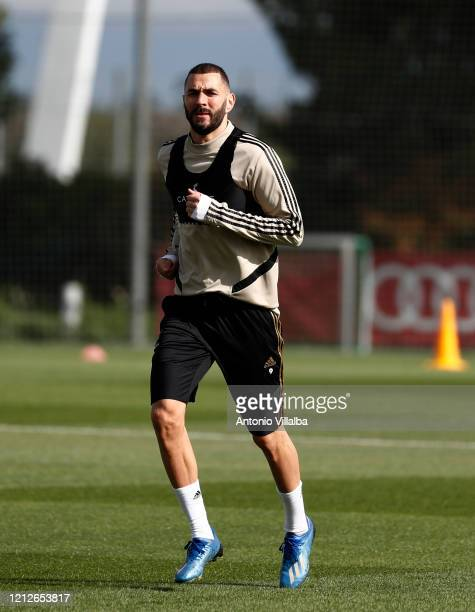 Karim Benzema of Real Madrid during a first training session since the Covid19 pandemic at Valdebebas training ground on May 11 2020 in Madrid Spain