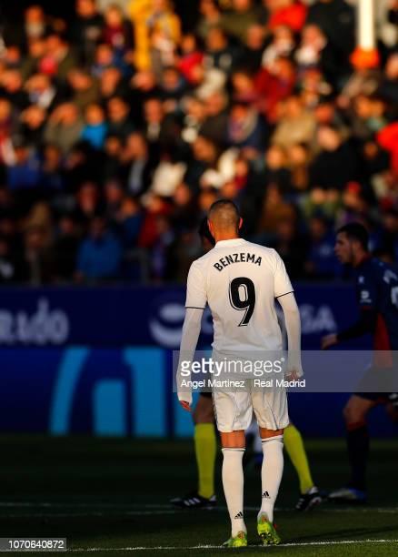 Karim Benzema of Real Madrid during the La Liga match between SD Huesca and Real Madrid CF at Estadio El Alcoraz on December 9 2018 in Huesca Spain