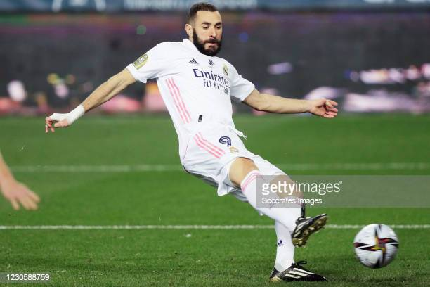 Karim Benzema of Real Madrid during the Spanish Super Cup match between Real Madrid v Athletic de Bilbao at the La Rosaleda Stadium on January 14,...