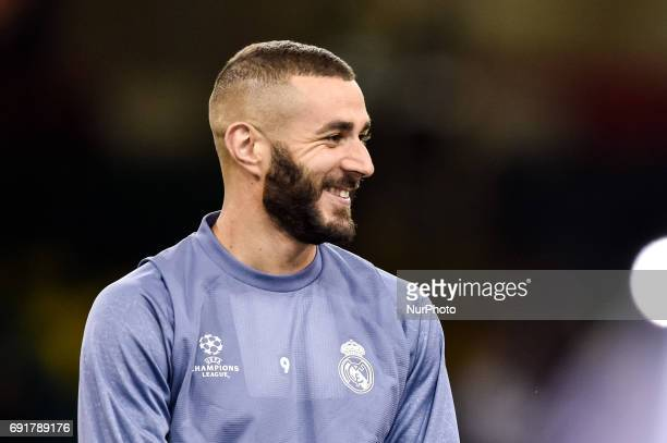 Karim Benzema of Real Madrid during the training session ahead the UEFA Champions League Final between Real Madrid and Juventus at the National...