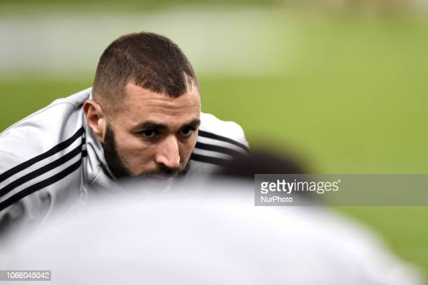 Karim Benzema of Real Madrid during the UEFA Champions League match between Roma and Real Madrid at Stadio Olimpico Rome Italy on 27 November 2018