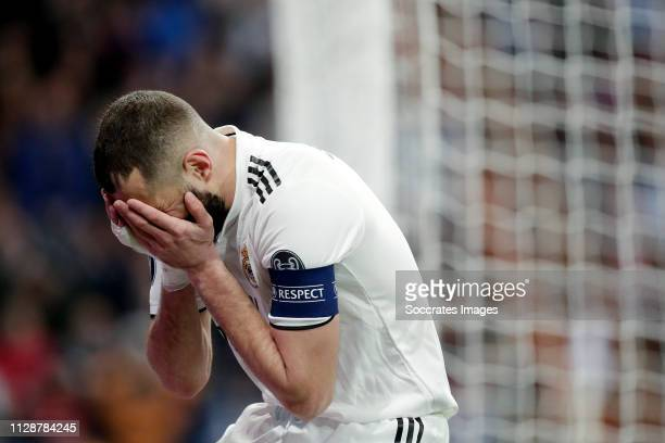 Karim Benzema of Real Madrid during the UEFA Champions League match between Real Madrid v Ajax at the Santiago Bernabeu on March 5 2019 in Madrid...