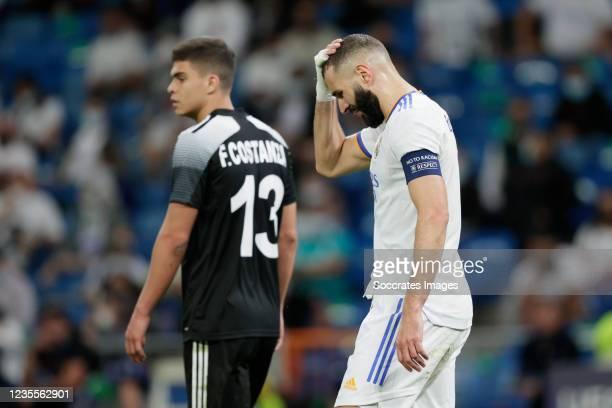 Karim Benzema of Real Madrid during the UEFA Champions League match between Real Madrid v FC Sheriff Tiraspol at the Estadio Alfredo Di Stefano on...