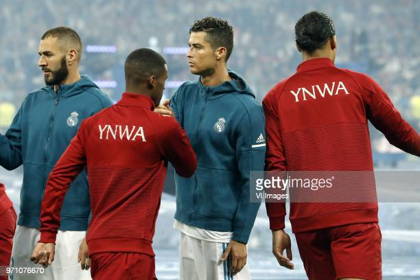 Karim Benzema of Real Madrid Georginio Wijnaldum of Liverpool FC Cristiano Ronaldo of Real Madrid Virgil van Dijk of Liverpool FC during the UEFA...