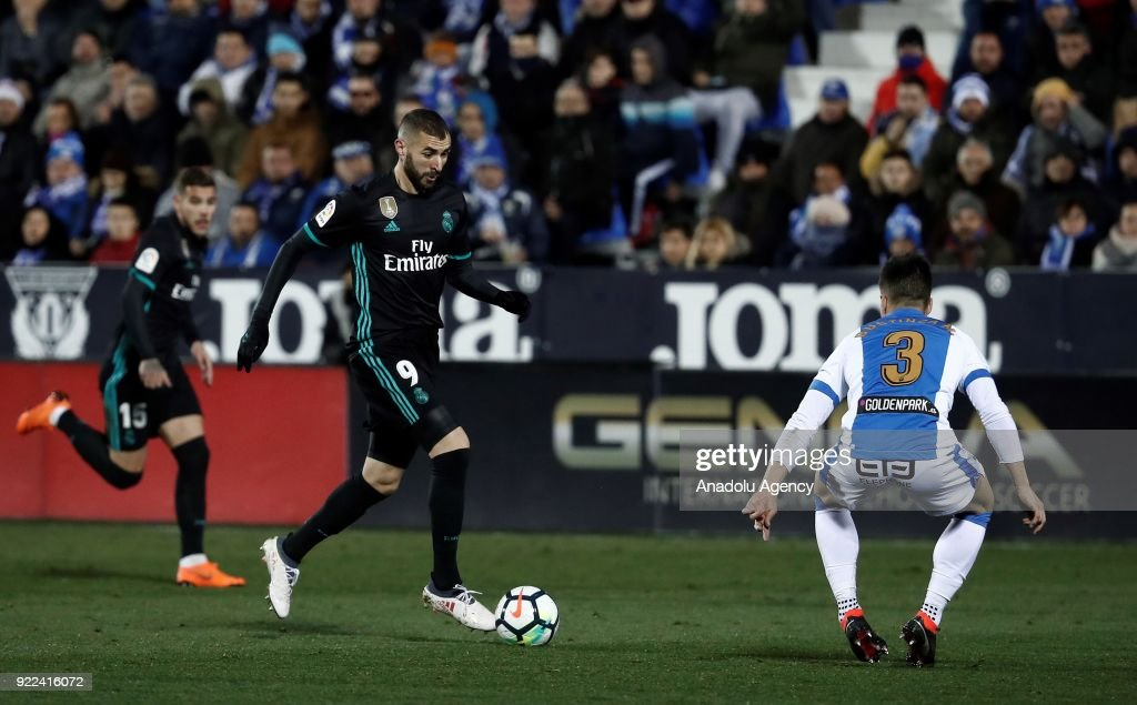 Karim Benzema of Real Madrid in action against Unai Bustinza of Leganes during the La Liga football match between Leganes and Real Madrid at the Estadio Municipal Butarque in Madrid, Spain on February 21, 2018.