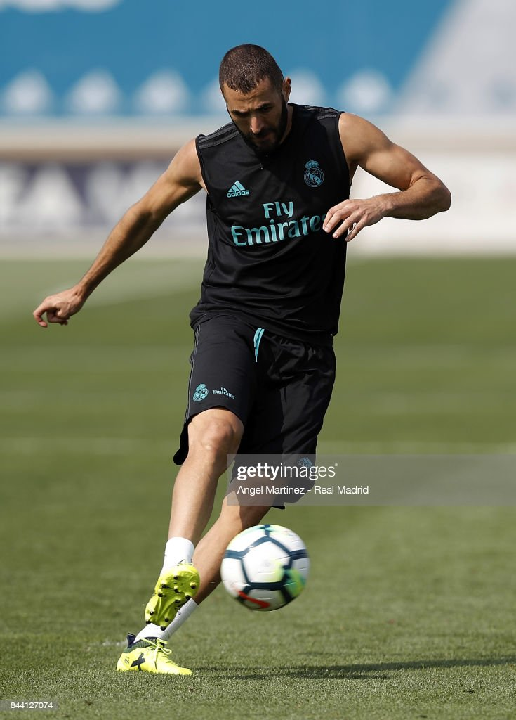 Karim Benzema of Real Madrid in action during a training session at Valdebebas training ground on September 8, 2017 in Madrid, Spain.