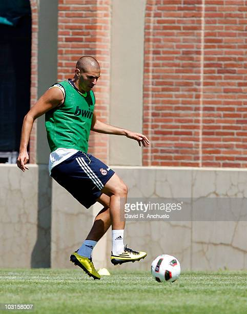 Karim Benzema of Real Madrid in action during a training session on July 29 2010 in Los Angeles California The team arrived on July 28 in Los Angeles...