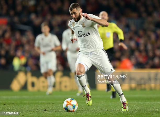 Karim Benzema of Real Madrid in action during the Copa del Rey Semi Final match between FC Barcelona and Real Madrid at Nou Camp on February 06 2019...
