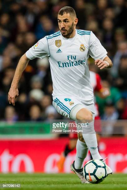 Karim Benzema of Real Madrid in action during the La Liga 201718 match between Real Madrid and Girona FC at Estadio Santiago Bernabéu on March 18...
