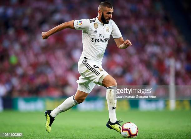 Karim Benzema of Real Madrid in action during the La Liga match between Athletic Club Bilbao and Real Madrid at San Mames Stadium on September 15...