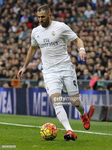 Karim Benzema of Real Madrid in action during the La Liga match between Real Madrid CF and Real Sociedad at Estadio Santiago Bernabeu on December 30...