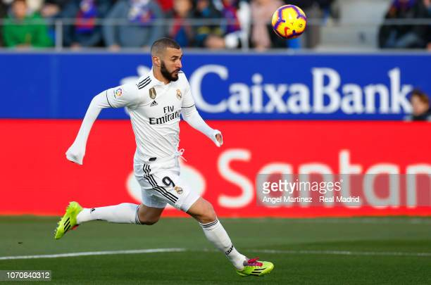 Karim Benzema of Real Madrid in action during the La Liga match between SD Huesca and Real Madrid CF at Estadio El Alcoraz on December 9 2018 in...