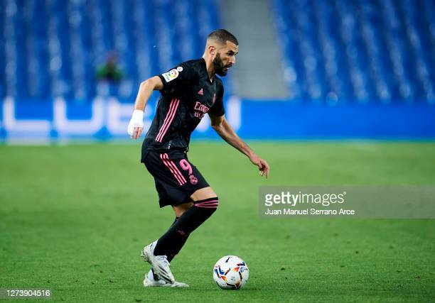 Karim Benzema of Real Madrid in action during the La Liga Santander match between Real Sociedad and Real Madrid at Estadio Anoeta on September 20...