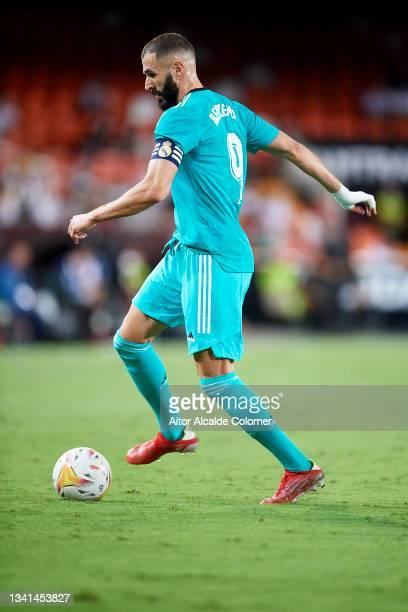 Karim Benzema of Real Madrid in action during the La Liga Santander match between Valencia CF and Real Madrid CF at Estadio Mestalla on September 19,...