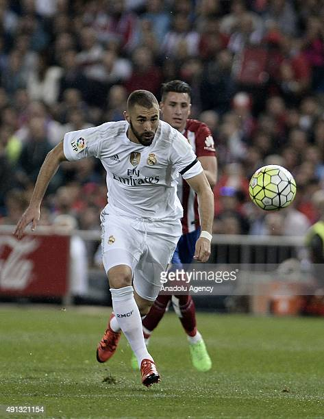 Karim Benzema of Real Madrid in action during the Spanish La Liga football match between Atletico Madrid and Real Madrid at Vicente Calderon Stadium...