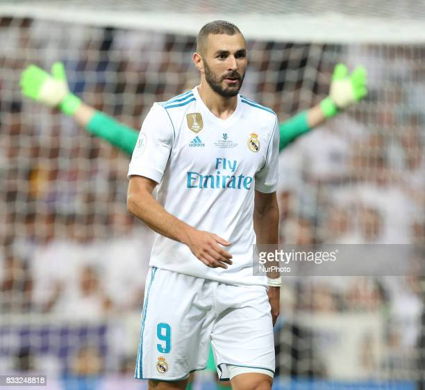 Karim Benzema of Real Madrid in action during the Supercopa de Espana Final second leg match between Real Madrid and FC Barcelona at Estadio Santiago...