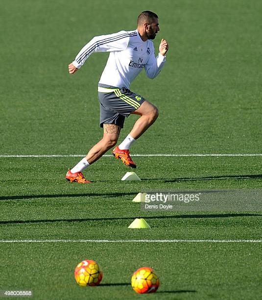 Karim Benzema of Real Madrid in action during the team training session ahead of the La Liga match between Real Madrid and Barcelona at Valdebebas...