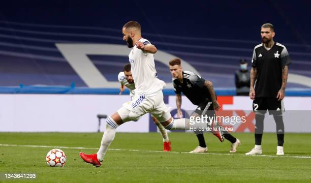 Karim Benzema of Real Madrid in action during the UEFA Champions League group D match between Real Madrid and FC Sheriff at Estadio Santiago Bernabeu...