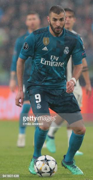 Karim Benzema of Real Madrid in action during the UEFA Champions League Quarter Final Leg One match between Juventus and Real Madrid at Allianz...