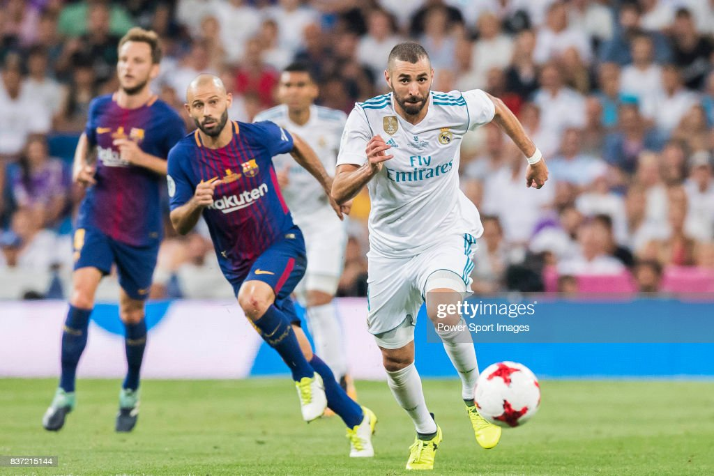 MADRID, SPAIN - AUGUST 16 - Karim Benzema of Real Madrid in action during their Supercopa de Espana Final 2nd Leg match between Real Madrid and FC Barcelona at the Estadio Santiago Bernabeu on 16 August 2017 in Madrid, Spain.