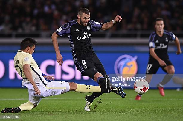 Karim Benzema of Real Madrid kicks a goal during the FIFA Club World Cup Japan semifinal match between Club America v Real Madrid at International...