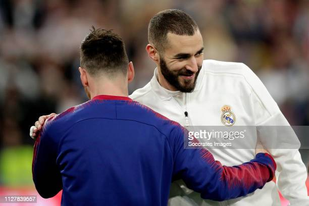 Karim Benzema of Real Madrid Lionel Messi of FC Barcelona during the Spanish Copa del Rey match between Real Madrid v FC Barcelona at the Santiago...