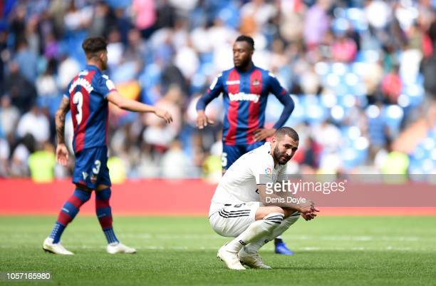 Karim Benzema of Real Madrid looks dejected adter the match during the La Liga match between Real Madrid CF and Levante UD at Estadio Santiago...