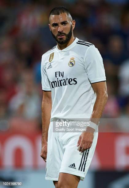 Karim Benzema of Real Madrid looks on during the La Liga match between Girona FC and Real Madrid CF at Montilivi Stadium on August 26 2018 in Girona...