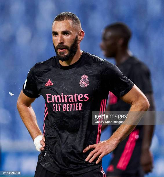 Karim Benzema of Real Madrid looks on during the La Liga Santader match between Real Sociedad and Real Madrid at Estadio Anoeta on September 20 2020...