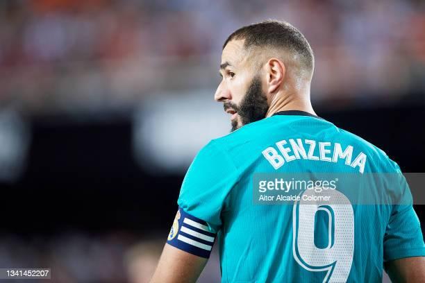 Karim Benzema of Real Madrid looks on during the La Liga Santander match between Valencia CF and Real Madrid CF at Estadio Mestalla on September 19,...