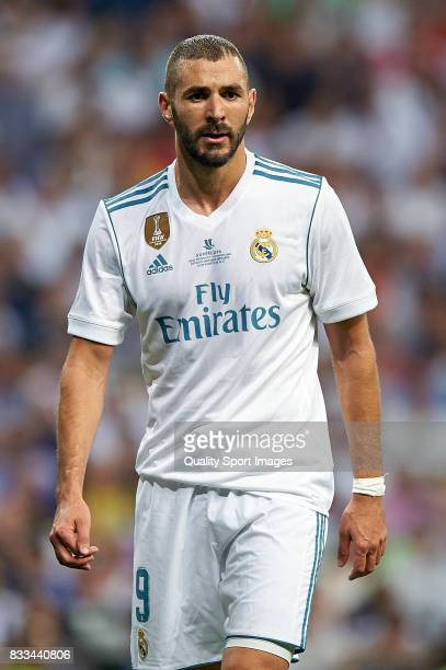 Karim Benzema of Real Madrid looks on during the Supercopa de Espana Supercopa Final 2nd Leg match between Real Madrid and FC Barcelona at Estadio...