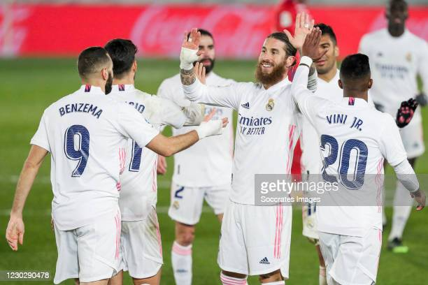 Karim Benzema of Real Madrid, Marco Asensio of Real Madrid, Vinicius Junior of Real Madrid, Sergio Ramos of Real Madrid celebrate the victory during...