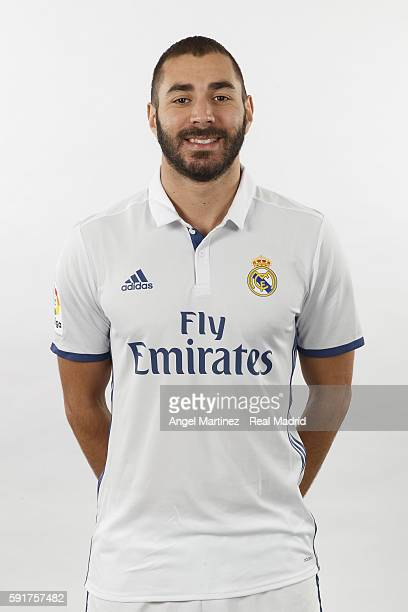 Karim Benzema of Real Madrid poses during a portrait session at Valdebebas training ground on August 18 2016 in Madrid Spain